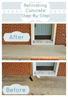 Refinishing a Concrete Patio-Easy, Step by step tutorial Concrete Porch, Concrete Steps, Outdoor Projects, Home Projects, Concrete Projects, Outdoor Ideas, Outdoor Decor, Outdoor Spaces, Outdoor Living