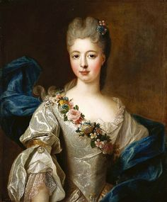 Painting of Marie Anne de Bourbon, Mademoiselle de Clermont; daughter of the 6th Prince of Condé and his wife, Mademoiselle de Nantes (daughter of Louis XIV). 1710-1730. Pierre Gobert. #Rococo #French