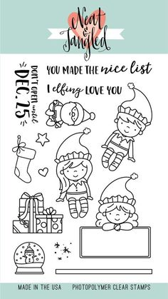 Illustrated by Elena Roussakis Elfs and Their Shelf is a wonderfully whimsical 4x6 stamp set, inspired by the tradition of Elf on the Shelf. Set the scene for