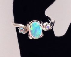 White Opal 7mm x 5mm Sterling Silver Ring