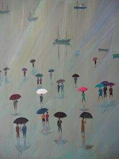 by Spyros Vassileiou Greece Painting, Mediterranean Art, Umbrella Art, Street Art, 10 Picture, Beautiful Paintings, Artist Art, Printmaking, Contemporary Art