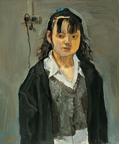 Liu Xiaodong, Young Girl, 1995, oil on canvas with framed in palissandre, 76 x 63 cm | 29.92 x 24.8 in, XIAO0012