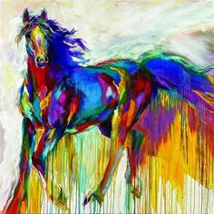 Barbara Meikle ~Horse, Love the colorful! I would love to have massive, bright paintings of animals all over my house Colorful Paintings, Animal Paintings, Horse Paintings, Watercolor Horse, Horse Artwork, Painted Pony, Horse Drawings, Arte Pop, Art Abstrait