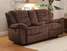 He-8556Ch-2 Sofa/Chair Collection Dbl Glcr Rlnr Ls W/Console