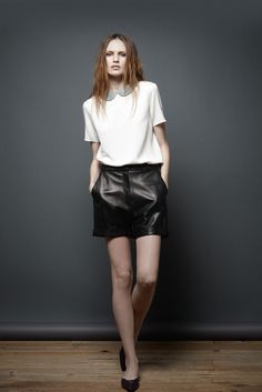 The Row Pre-Fall 2011 look #3. I love how this was 2011 and peter pan collars and leather shorts were all the rage in 2012. fascinating! anyway i love this outfit