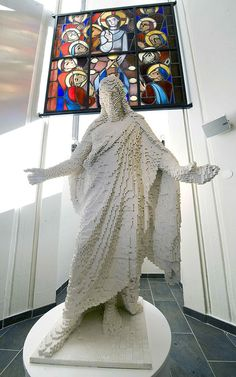 For this life-size lego Jesus Christ, a Protestant church in Sweden required 40 volunteers, 18 months, and more than 30,000 individual Lego pieces.