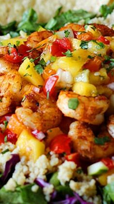 Spicy Shrimp with Sweet and Zesty Mango Salsa ~ This is a great recipe for Cinco de Mayo, or any summery party!