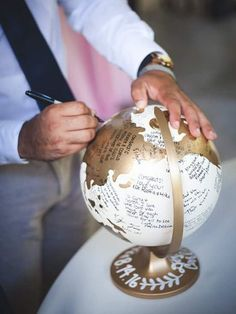 Wedding Cards, Diy Wedding, Dream Wedding, Wedding Invitations, Travel Bridal Showers, Gold Globe, Santorini Wedding, Travel Party, Outdoor Wedding Decorations