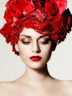 Red Flowers in her hair - crown