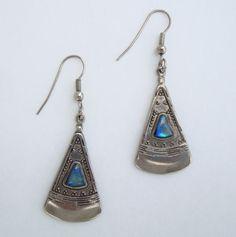 Egyptian Revival Blue Green Teal Triangular Dangle Earrings Vintage Jewelry