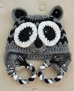 Crochet Raccoon Hat, LuvBeanies, Animal Hats, Children Hats, Crochet hats for kids, Photo prop, Crochet hats for boys,  Winter Hats for boys by LuvBeanies on Etsy