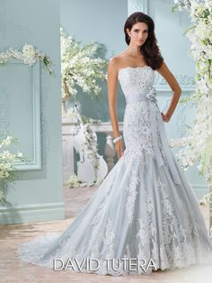 David Tutera for Mon Cheri - 116225 � Thea - Strapless tulle and hand-beaded re-embroidered Alencon lace appliqu�s over memory taffeta trumpet gown with scalloped neckline, detachable grosgrain flower belt, dropped waist, back covered buttons, scalloped hem with chapel length train, detachable spaghetti and halter straps included.Sizes:�0 � 20,�18W � 26WColors:�Ivory/Sea Mist, Ivory/Petal, Ivory, White