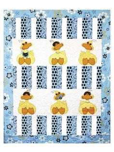 "This darling twist on the rubber-ducky theme is easy and quick to make.     Create a quilt for a girl or a boy depending on your color choices. Add sunglasses, binky and bib appliques to the duckies to make Baby giggle. Finished size is 44"" x 55""."