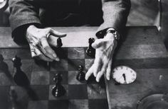 Alexander Liberman photographs Marcel Duchamp playing chess, in his studio, 1959