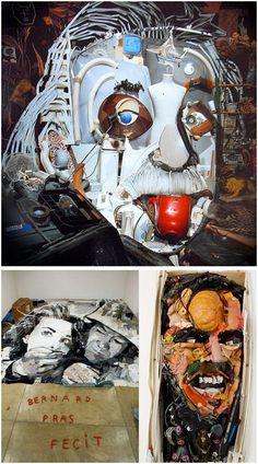Esculturas realizadas con todo tipo de materiales desechados. Una artística forma de hacer reciclaje. Bernard Pras www.bernardpras.fr Sculptures made with all kinds of waste materials. An artistic way to recycle. Bernard Bras www.bernardpras.fr
