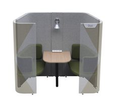 Haven Duo Pod (High)- Most important meetings within the office will tend to be within small groups, when these happen around the workstation environment they can be disruptive to colleagues. Duo provides a location for these ad hoc, face to face meetings and its compact footprint allow it to be collated within workstation environments. Duo incorporates a switchable task light desktop power and vertical cable management. The increased height delivers additional visual and acoustic privacy.