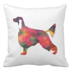 Irish Setter Geometric Pattern Black Silhouette Pillows