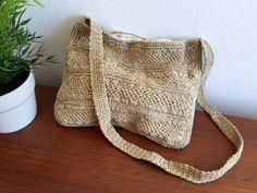 Beige Woven Shoulder Bag / Boho Raffia Purse / Natural Macramé Lined Handbag / Hippy Summer Bag / Slouchy Crocheted Shoulder Bag This is a vintage