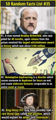 1. A man named Bradley Birkenfeld, who was jailed for 40 months, upon release from the prison received the largest whistleblower award in history which was about $104 million.