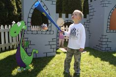 Kids birthday castle and dragon