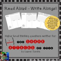 This is the latest in a new series that I've created, called READ ALOUD-WRITE ALONGS! I have written interactive, higher level thinking questions aligned with the common core to go with each chapter of popular classroom read alouds. These tri-folds will h Writing Skills, Writing Activities, 4th Grade Classroom, Classroom Ideas, Balanced Literacy, Book Study, I Survived, Read Aloud, School Ideas