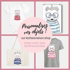 Retrouvez des dizaines d'objets à personnaliser sur lesféesmaison.shop ! Coton Bio, Onesies, Baby, Kids, Clothes, Objects, Young Children, Outfits, Boys