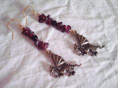 Garnet Onyx Fire Dragon Earrings- Game of Thrones Khaleesi Earrings- Fire Element Earrings-Unbunrt Earrings