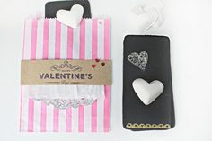 Chalkboard valentines with heart shaped chalk (plus embossing on the bottom)