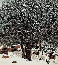 SVENOLOV EHRÉN - Tree in a winter Landscape