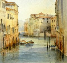 British charming seaside town by artists David Howell Watercolor Pictures, Watercolor Sketch, Watercolor Landscape, Landscape Art, Watercolor Paintings, Watercolours, David Howell, Venice Painting, Georges Braque