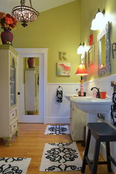 traditional bathroom by Sarah Greenman I want pocket doors in my Jack and Jill bath. Never thought about them being mirrored. Love it!