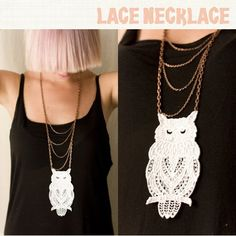 My necklace is online!  lol Lace Owl Necklace by MyOwlBarn, via Flickr