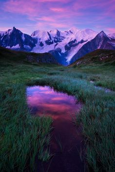 Soft Morning Light - Sunrise on Mount Blanc from the National Nature Reserve of…