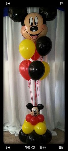 Mickey Mouse foil head balloon bouquet with 6 latex Minnie Maus Ballons, Mickey Mouse Balloons, Fiesta Mickey Mouse, Mickey Mouse Baby Shower, Mickey Mouse Clubhouse Birthday, Mickey Birthday, Birthday Balloons, 2nd Birthday, Birthday Ideas
