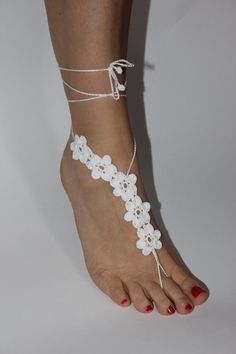 Beach wedding shoes, White Crochet Barefoot Sandals Foot jewelry Bridal Sexy Yoga on Etsy, $15.00