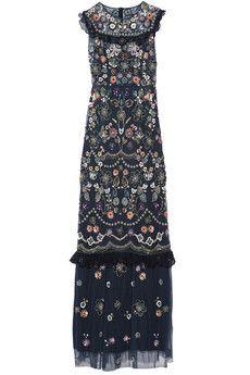 Needle & Thread - Ruffle-trimmed embellished tulle maxi dress