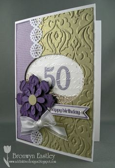 addINKtive designs: Tracy's 50th Birthday Card - Four Challenges in One!