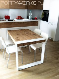 A hand made to order table. Solid wood table top on steel base. Natural hard wax oil finish while base can be powder coated on every RAL colour. A table presented on the photos is long while wide. Solid Oak Dining Table, Dining Table In Kitchen, Dining Set, Minimalistic Design, Timber Table, Wood Table, Table Legs, Minimalist Dining Room, Sweet Home