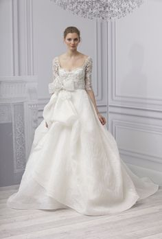Royalty - Monique Lhuillier (Bridal Dress, , dress, dresses, bride, ball gown, organza, silk, scoop, natural, 34) - Lover.ly