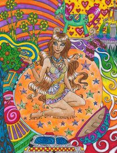 ☮ American Hippie Psychedelic Art ~ Girl with Kaleidoscope Eyes