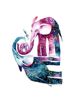 "Print ""Elephant Compassion"".  Purple, blue, mosaic-design.  (Etsy: ckasdorf)"