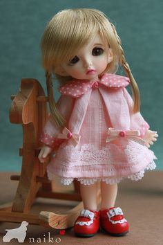 Naikohandmadelace pink dress for  bjd FL pukifee lati by naiko2, $16.00