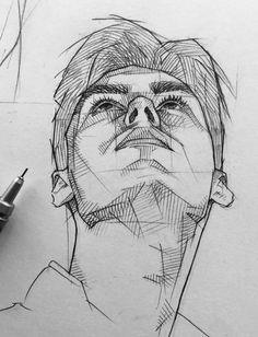 Dark Art Drawings, Art Drawings Sketches Simple, Pencil Art Drawings, Cool Drawings, Arte Sketchbook, Pen Art, Drawing People, Portrait Art, Aesthetic Art