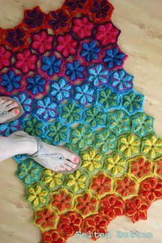 Crochet Pattern Star Fruit Blanket Rug Coverlet by FeltedButton