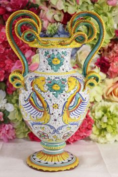 Magnificent, Deruta, Italian Majolica, Hand Painted Serpent Urn