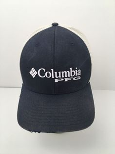 e8edf2e7a51e3 Distressed Columbia PFG Mesh Hat Cap Flex-Fit Blue White Fishing Size L XL