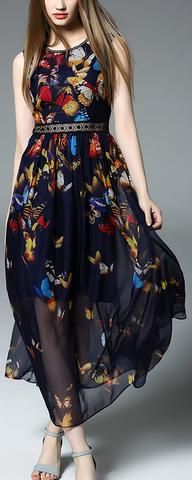 Long Butterfly Printed Dress-Valentino