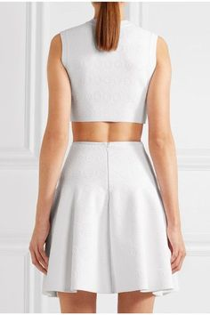 Alaïa - Cropped Stretch Jacquard-knit Top - White - FR38