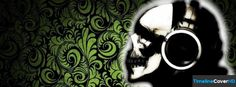Green Abstract Floral Headphone Skull Facebook Cover Timeline Banner For Fb32 Facebook Cover