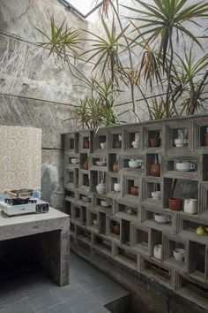 Image 29 of 37 from gallery of The Obsolete House - Omah Amoh / Gayuh Budi Utomo. Photograph by Mansyur Hasan Cafe Interior, Home Interior Design, Interior And Exterior, Interior Decorating, Cafe Shop Design, House Design, Breeze Block Wall, Concrete Block Walls, Narrow House